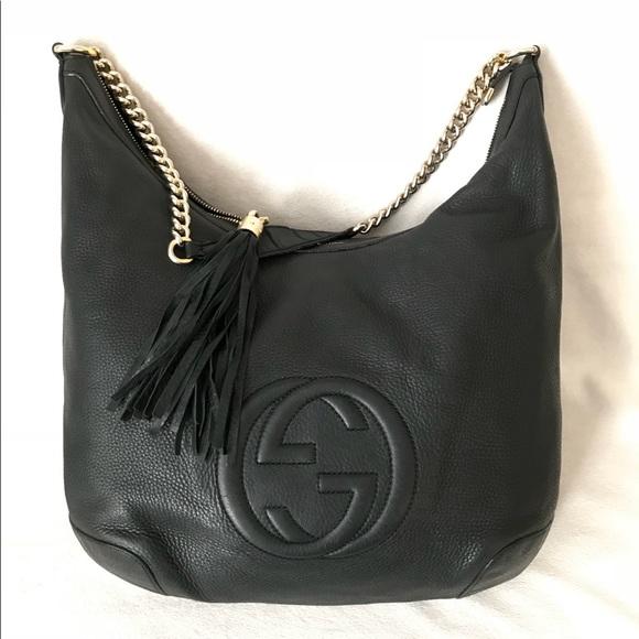 08758c0af23 Gucci Handbags - GUCCI Soho Black Leather Chain GG Shoulder Bag